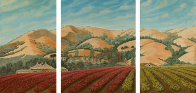 Lew E Davis Triptych Painting Of The Villa Lomas Azules And Highland Vineyard