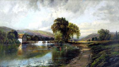 Edmund Darch Lewis Landscape with Mill