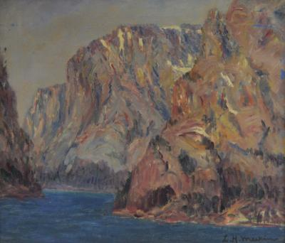 Lewis Henry Meakin Mountain Scene with Lake