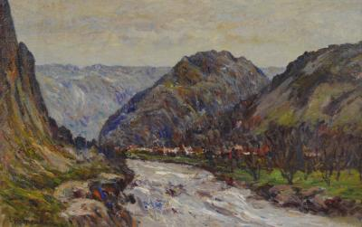 Lewis Henry Meakin Mountains Scene with River