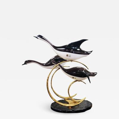 Licio Zanetti Licio Zanetti Three Flying Geese Vintage Murano Glass Sculpture