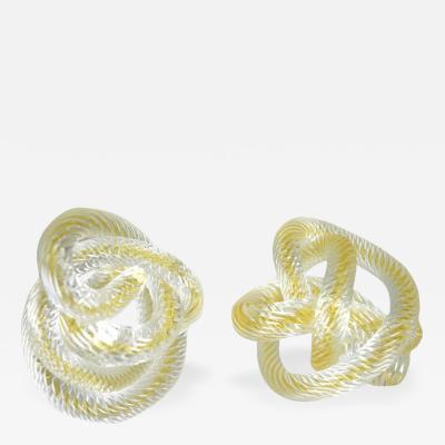 Licio Zanetti Two Signed Zanetti Murano Glass Knots