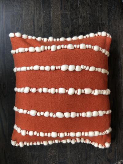 Lido II Orange Merino Wool Pillow