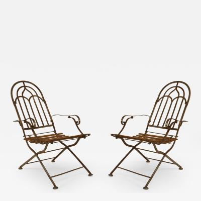 Lieh Stuhl Pair of Austrian Art Deco Steel Frame Folding Campaign Style Armchairs