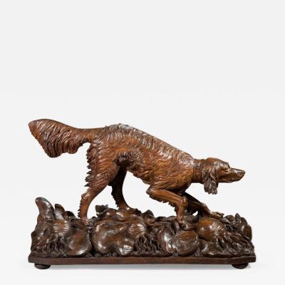 Life size Black Forest carved wood dog