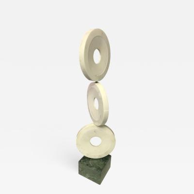 Lifesize Italian Marble Disk Totem Sculpture
