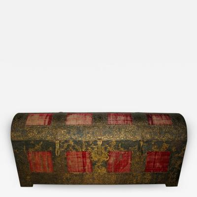 Lift Top Chest Cassone with Metal on Wood Core Inset with Velvet Panels