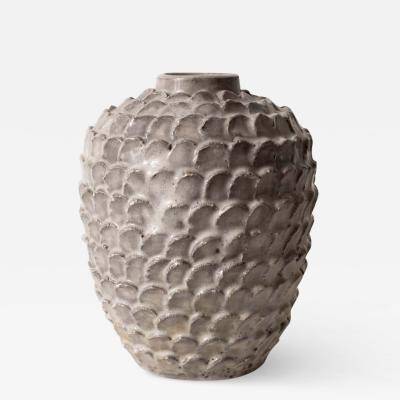 Light Grey Vase with Scale Motif Mark unknown France c 1940