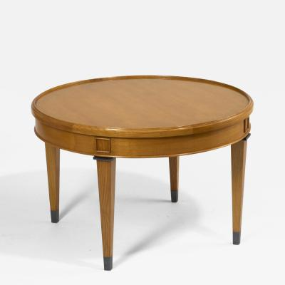 Light Wood Neoclassical Coffee Table France 1950s