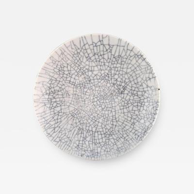 Liisa Hallamaa Larsen Large unique crackled dish in white glazed stoneware