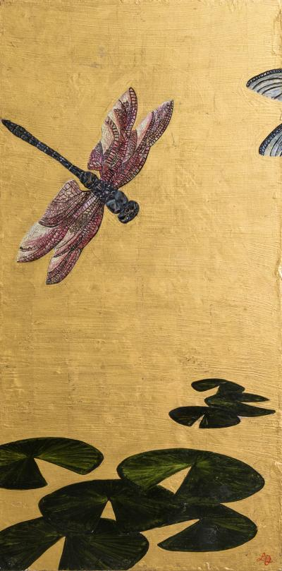 Lily Lewis A Large Goldleafed Panel Titled Dragons on Golden Pond by Lily Lewis