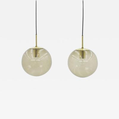 Limburg Pair of Smoked Glass and Brass Glass Ball Pendants 1960s