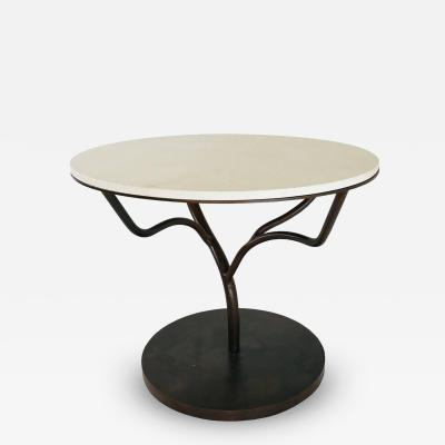 Limestone Top Vine Occasional Table with Oxidized Finish