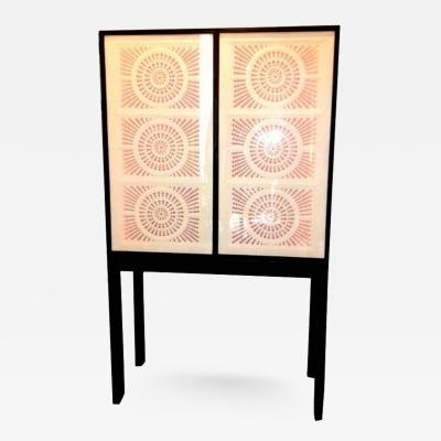 Limited Edition Artisan Crafted Origami Glass and Iron Bar Cabinet