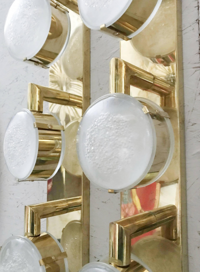 Limited Edition Pair of Murano Frosted Glass Sconces c 1990s