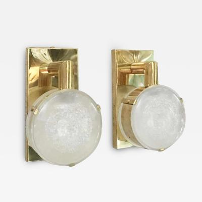 Limited Edition Pair of Sconces w Double Frosted Murano Glass Circa 1990s