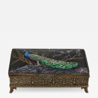 Limoges Enamelled Jewel Casket With Colorful Peacock