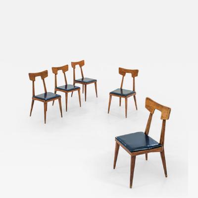 Lina Bo Bardi LINA BO BARDI for Cassina five oak chairs circa 1940 Italy