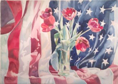 Linda Bastian Linda Bastian Five Tulips And American Flag
