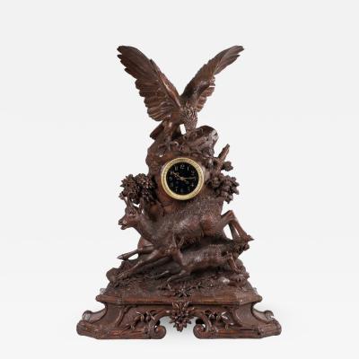 Linden Wood Black Forest Mantel Clock in the Manner of Ed Binder of Brienz