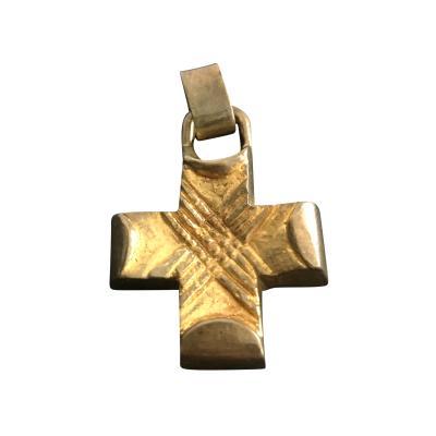 Line Vautrin A Gilt Bronze Cross Pendant by Line Vautrin