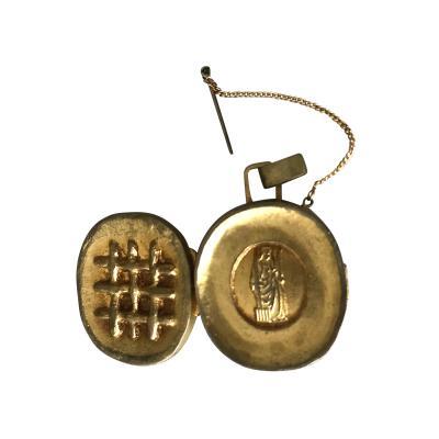 Line Vautrin A Gilt Bronze Reliquary Pendant by Line Vautrin