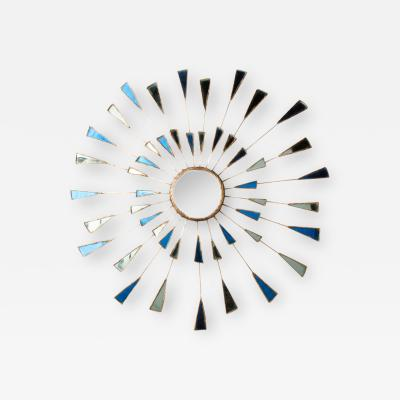 Line Vautrin A Line Vautrin Etincelles style mirror with blue and white colored glass