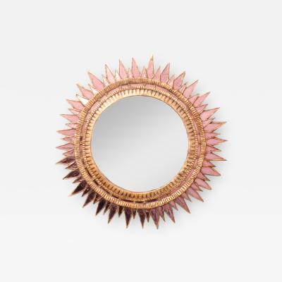 Line Vautrin A Line Vautrin style Soleil pointes giltwood and pink mirrored glass