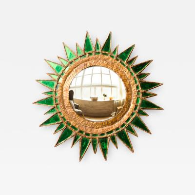 Line Vautrin A Line Vautrin style green Soleil Pointes convex mirror