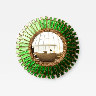 Line Vautrin A green talosel and resin convex mirror in the manner of Line Vautrin