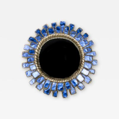 Line Vautrin A pair of blue glass and resin petite mirrors in the manner of Line Vautrin