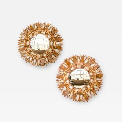Line Vautrin A pair of petite mirrors with white and champagne glass manner of Line Vautrin