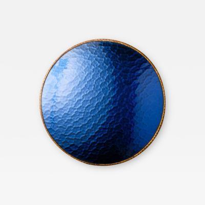 Line Vautrin A sunflower form blue convex mirror in the manner of Line Vautrin