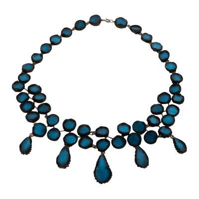 Line Vautrin Black Talosel necklace incrusted with ocean blue mirrors Line Vautrin France