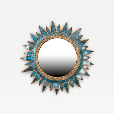 Line Vautrin Blue Soleil pointes Convex Mirror by Line Vautrin France