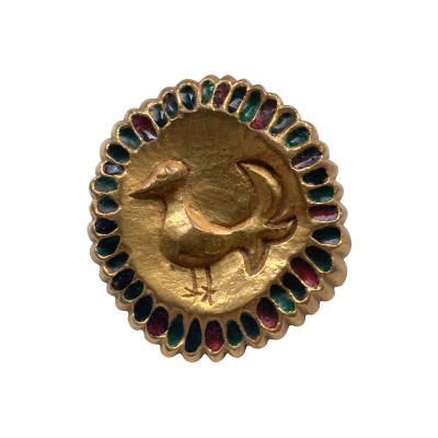 Line Vautrin French Bronze Enameled Brooch Line Vautrin