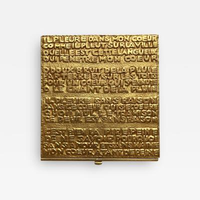 Line Vautrin French Sculpted Bronze Box with Poem by Line Vautrin
