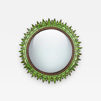 Line Vautrin French Talosel and Incrusted Mirrors with Central Convex Mirror Line Vautrin