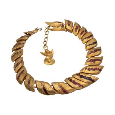 Line Vautrin Gilded bronze necklace with enamel decoration La femme au dragon Line Vautrin