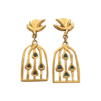 Line Vautrin Line Vautrin A pair of gilded bronze earrings Les oiseaux envol s