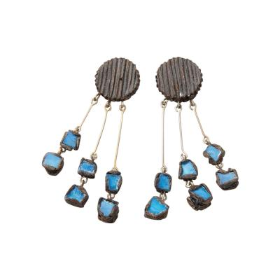 Line Vautrin Line Vautrin Fr A Farah talosel and incrusted blue mirrors earrings 2