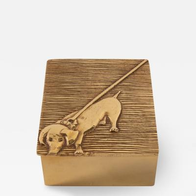 Line Vautrin Line Vautrin France Dachshund Tout Ou Rien All or Nothing Box Gilded Bronze