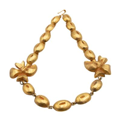 Line Vautrin Line Vautrin France Flowers and Coffee Beans Necklace Gilded Bronze