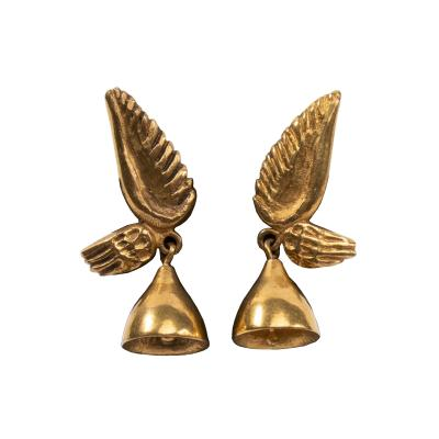 Line Vautrin Line Vautrin France Les Cloches Ail es Winged Bells Bronze Earrings