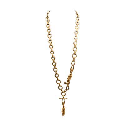 Line Vautrin Line Vautrin France Rare long necklace The trapezists Gilded bronze