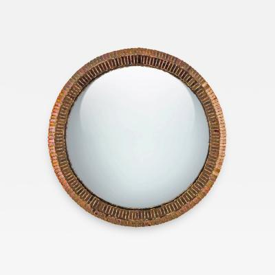 Line Vautrin Line Vautrin French Convex Mirror Couronne Gold Bronze Incrusted Mirrors