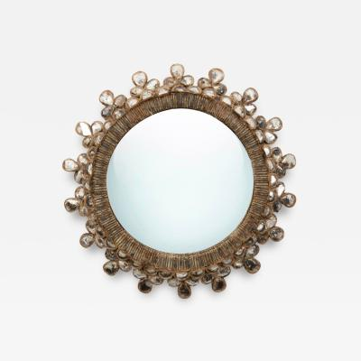 Line Vautrin Line Vautrin French Convex Mirror Shamrock Silver Foil Incrusted Mirrors