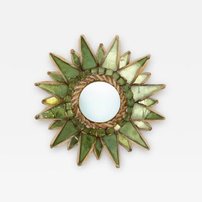 Line Vautrin Line Vautrin French Mirror Soleil A Pointes Green Incrusted Mirrors
