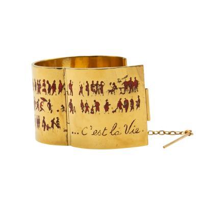 Line Vautrin Line Vautrin cest la vie Gilded bronze enameled cuff bracelet