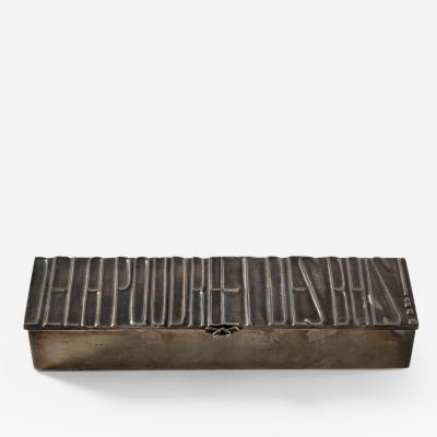 Line Vautrin Silvered bronze box De la poudre et des bals